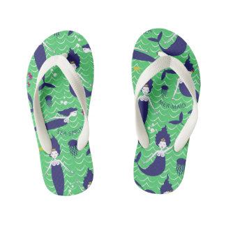 Mermaid Princess Flip flops in Green/Navy