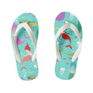 Mermaid Princess Flip flops in Teal/Multi