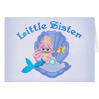 Mermaid Princess Little Sister Note Card