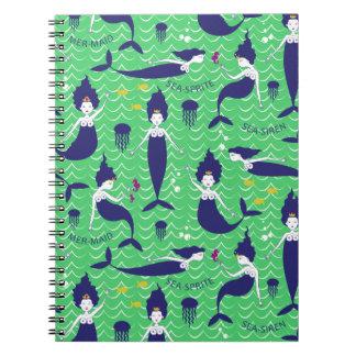 Mermaid Princess Notebook in Green/Navy