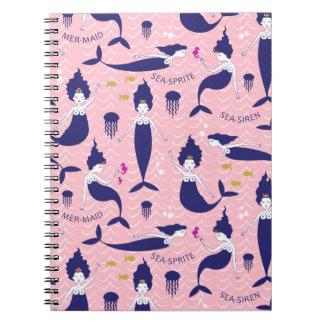 Mermaid Princess Notebook in Pink/Navy