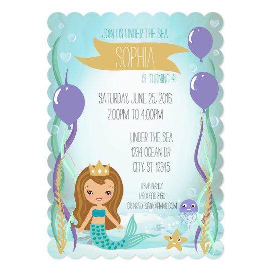 Mermaid Princess Party Invitation (5x7 Brown Hair)