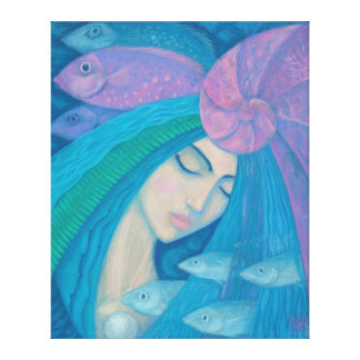 Mermaid Princess, Underwater Fantasy, Pink Blue Canvas Print