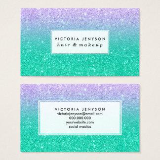 Mermaid purple teal aqua glitter ombre gradient business card