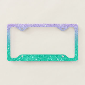 Mermaid purple teal aqua glitter ombre gradient license plate frame