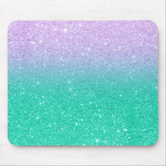 Mermaid purple teal aqua glitter ombre gradient mouse pad