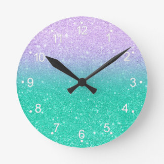 Mermaid purple teal aqua glitter ombre gradient round clock