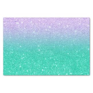 Mermaid purple teal aqua glitter ombre gradient tissue paper