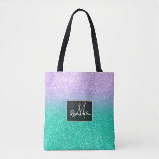 Mermaid purple teal aqua glitter ombre gradient tote bag