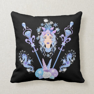 Mermaid Queen With Seahorses and Jeweled Scepters Throw Pillow
