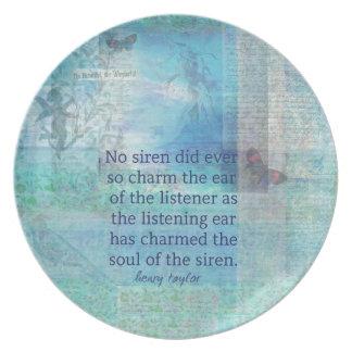 Mermaid quote vintage art dinner plate