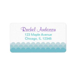 mermaid return address labels, water ocean waves label