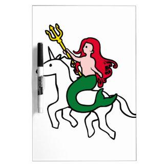 Mermaid Riding Flying Unicorn Dry-Erase Whiteboards
