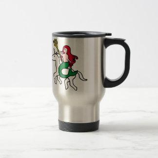 Mermaid Riding Flying Unicorn Travel Mug