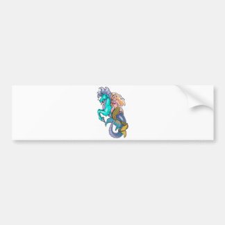 mermaid riding seahorse bumper sticker
