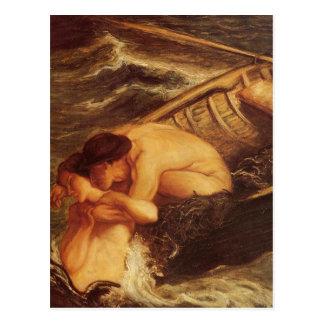 Mermaid & Sailor at Sea Postcard