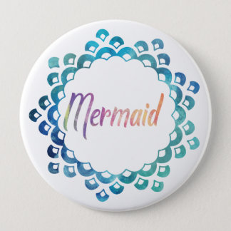 MERMAID SCALE MONOGRAM PURPLE AND TEAL 4 INCH ROUND BUTTON