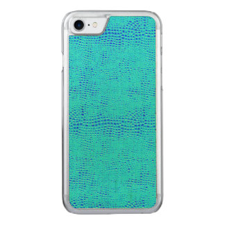 Mermaid Scale Neon Blue Vegan Leather Carved iPhone 7 Case