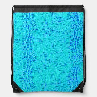 Mermaid Scale Neon Blue Vegan Leather Drawstring Bag