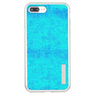Mermaid Scale Neon Blue Vegan Leather Incipio DualPro Shine iPhone 7 Plus Case