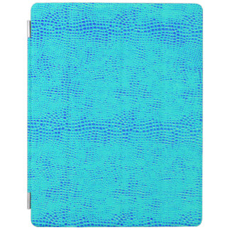 Mermaid Scale Neon Blue Vegan Leather iPad Cover