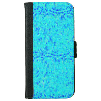Mermaid Scale Neon Blue Vegan Leather iPhone 6 Wallet Case