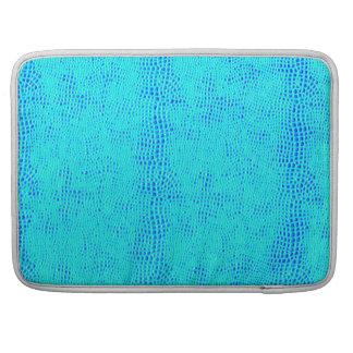 Mermaid Scale Neon Blue Vegan Leather Sleeves For MacBooks