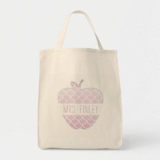Mermaid Scales Apple Personalized Teacher Tote Bag