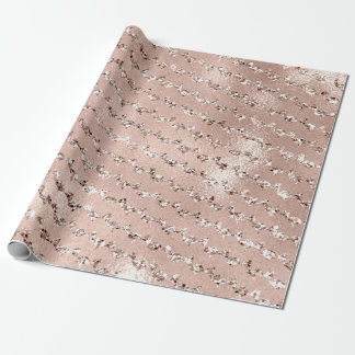 Mermaid Scales Crystal Metallic  Skinny Ivory Pink Wrapping Paper