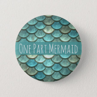 Mermaid Scales in Teal and Silver 2 Inch Round Button