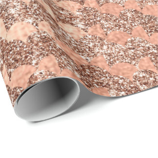 Mermaid Scales  Metallic Copper Glitter Rose Gold Wrapping Paper