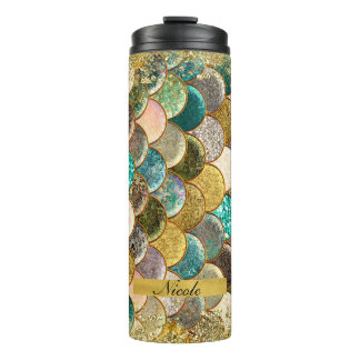 Mermaid Scales Multi Color Glitter Glam Trendy Thermal Tumbler