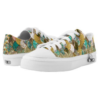 Mermaid Scales Multi Color Gold Glitter Trendy Low-Top Sneakers