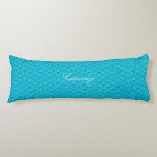 mermaid scales Thunder_Cove aqua/blue Body Pillow