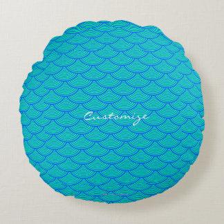 mermaid scales Thunder_Cove aqua/blue Round Pillow
