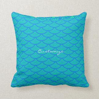 mermaid scales Thunder_Cove aqua/blue Throw Pillow