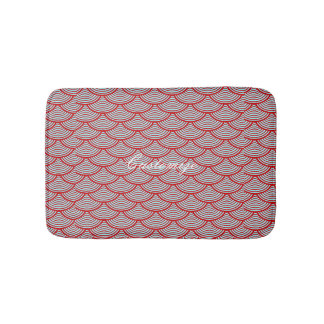 mermaid scales Thunder_Cove red/grey Bathroom Mat