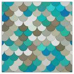 Mermaid Scales, Turquoise, Aqua, Taupe, & Cream Fabric
