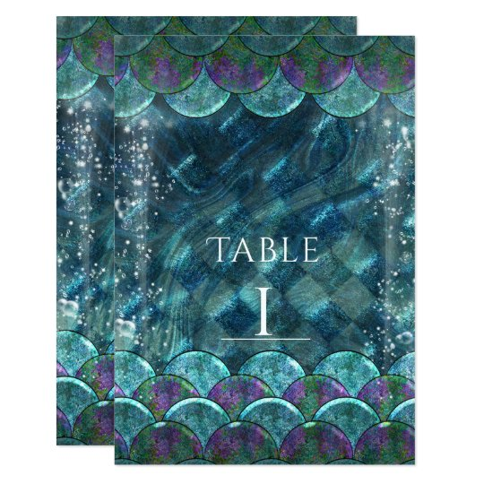 Mermaid Scales Under the Sea Party Table Number Card