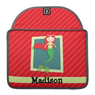 Mermaid; Scarlet Red Stripes Sleeves For MacBook Pro