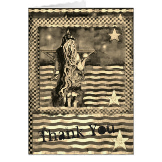 Mermaid Sea and Stars Sepia tones Thank You Card