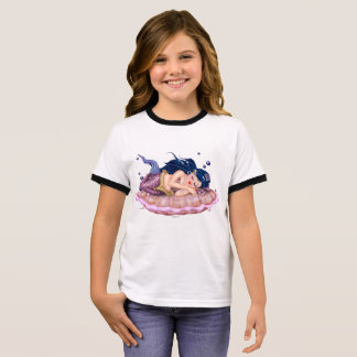MERMAID SEA  CARTOON Girl's Ringer T-Shirt