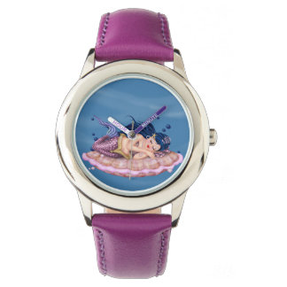 MERMAID SEA FAIRY CARTOON Bezel with Pink Numbers Watch