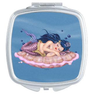 MERMAID SEA FAIRY CARTOON compact mirror SQUARE