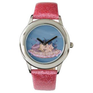 MERMAID SEA FAIRY CARTOON Pink Glitter Wristwatch