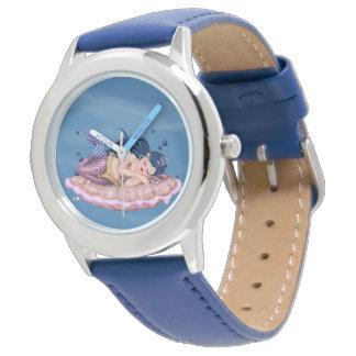MERMAID SEA FAIRY CARTOON Stainless Steel Blue Wristwatch