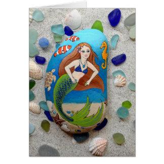 Mermaid, sea glass, shells, art greeting card
