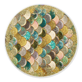 Mermaid Sea Scales Beachy Glamour Chic Ceramic Knob