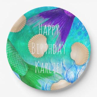 Mermaid Seashells Tails & Scales in Teal Purple Paper Plate