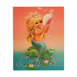Mermaid Shell Believe Wood Art Wall Hanging